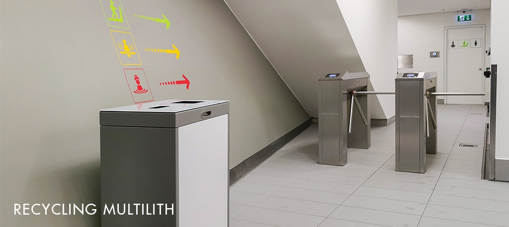 Multilith Recyclingstation, Abfall-Trenner, Abfall Mobiliar, Recycling Box, PET, Alu, Kehricht