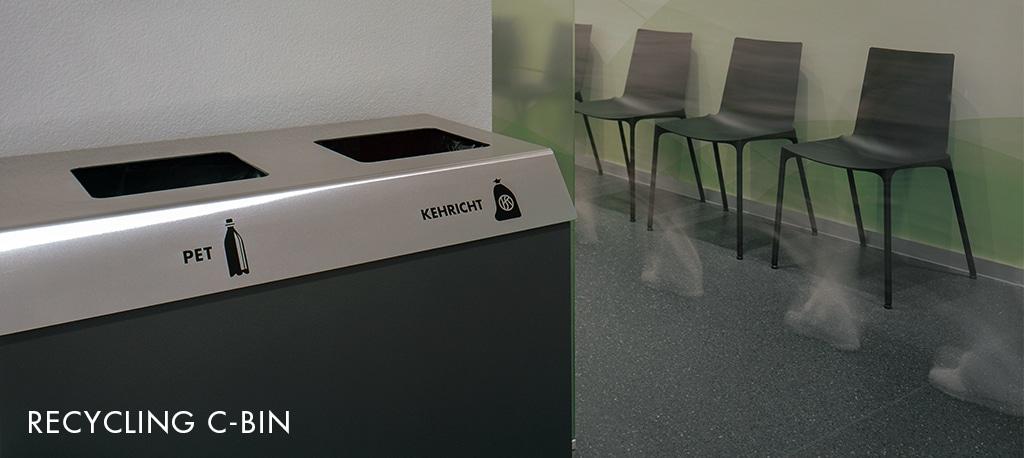 Recyclingstation, Abfall-Trenner, Abfall Mobiliar, Recycling Box, PET, Alu, Kehricht, C-Bin, Spital Burgdorf
