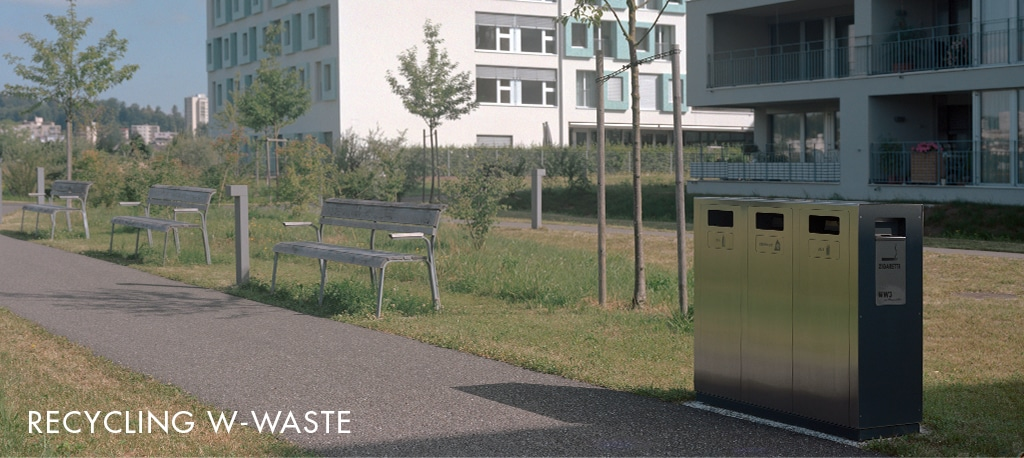 Recyclingstation, Abfall-Trenner, Abfall Mobiliar, Recycling Box, PET, Alu, Kehricht, W-Bin, Emmenfeld