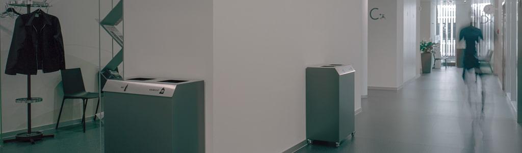 Abfall Mobiliar für den Innenraum, Abfalltrennen leicht gemacht in hochwertigen Materialien. Für jeden Standort die richtigen Fraktionen