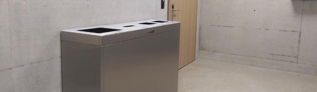 Abfall Mobiliar für den Innenraum, Abfalltrennen leicht gemacht in hochwertigen Materialien. Für jeden Standort die richtige Recylingstation