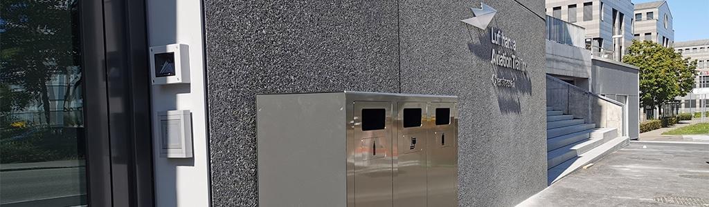 Abfall Mobiliar für den Aussenraum, Abfalltrennen leicht gemacht in hochwertigen Materialien. Für jeden Standort die richtige Recylingstation
