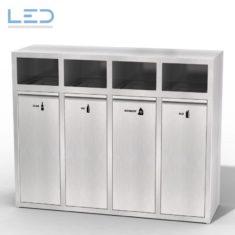 K4 Bin Recyclingstation 110 Liter Gastro, für Ihre Kantine oder Ihr Take Away Restaurant, Abräumstation aus Edelstahl, INOX, Swiss Made