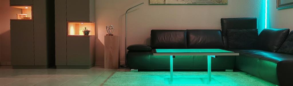LED Couchtisch 100 x 75 cm mit LED Beleuchtung für Ihr persönliches Wohlbefinden. Farb- und Lichttherapie, RGB Leuchtisch, Salontisch