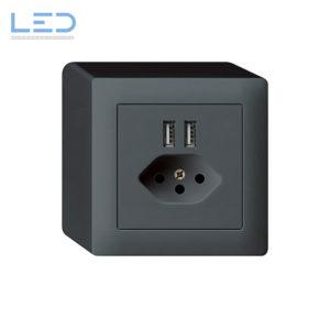 Kallysto AP Steckdose T13 + 2 USB, Anthrazit, Hager Kallysto AP, E-Nr 960931043, EAN-Nr 7611919486378, WH53820304Q, Swissmade, Elektromaterial