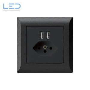 Hager Kallysto Line T13+USB Schwarz, UP Ladesteckdose, E-Nr 960930058, EAN-Nr 7611919486026, WH55820305C, Swiss Made, Elektromaterial, EM