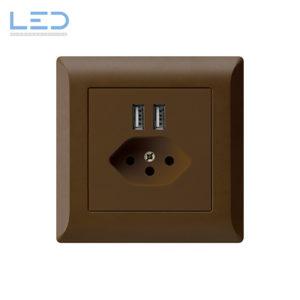 Hager Kallysto Line T13+USB Braun, UP Ladesteckdose, E-Nr 960930098, EAN-Nr 7611919486040 WH55820309C, Swiss Made, Elektromaterial, EM