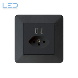 Hager Kallysto PRO T13+USB Schwarz, UP Ladesteckdose, E-Nr 960930258, EAN-Nr 7611919486088, WH56820305C, Swiss Made, Elektromaterial, EM