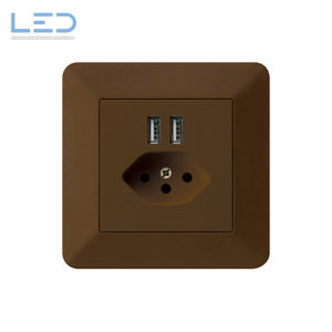 Hager Kallysto Trend T13+USB Braun, UP Ladesteckdose, E-Nr 960930298, EAN-Nr 7611919486101, WH57820309C, Swiss Made, Elektromaterial, EM