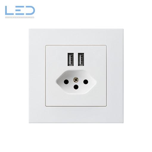 Hager Kallysto PRO T13+USB Weiss, UP Ladesteckdose, E-Nr 960930408, EAN-Nr 7611919486118, WH57820300C, Swiss Made, Elektromaterial, EM