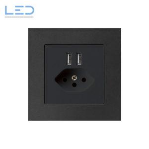 Hager Kallysto PRO T13+USB Schwarz, UP Ladesteckdose, E-Nr 960930458, EAN-Nr 7611919486149, WH57820305C, Swiss Made, Elektromaterial, EM